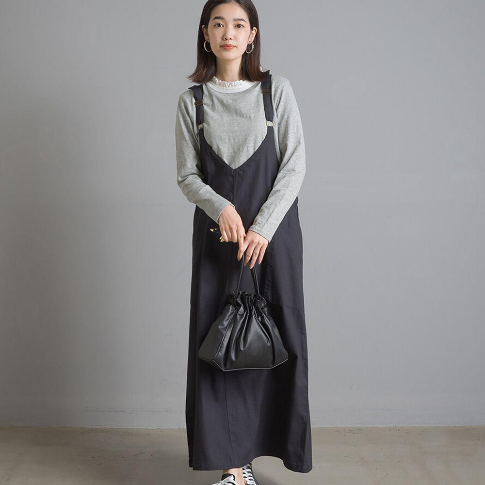 日本 OMNES - V 領純棉斜紋吊帶裙-黑 (Free size)