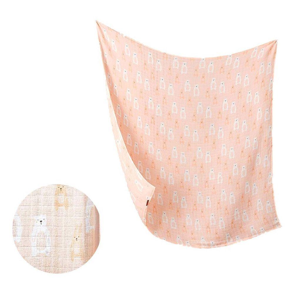 柔仕 - 棉柔紗布包巾毯-粉嫩白熊