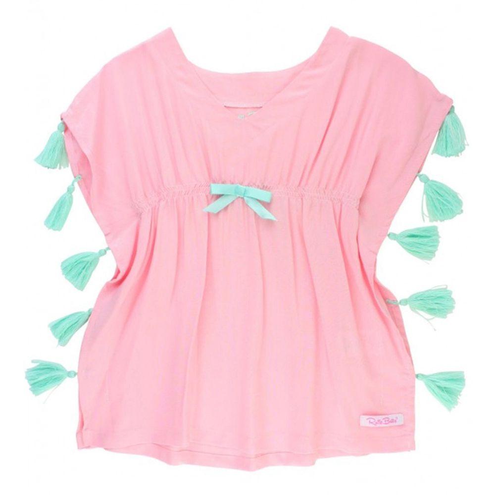 美國 RuffleButts - 兒童游泳罩衫/浴巾-粉色流蘇
