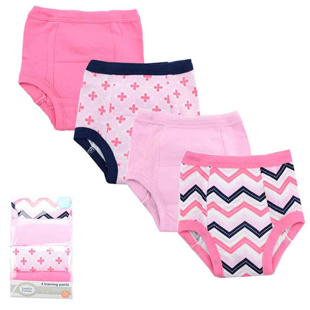 美國 Luvable Friends - 嬰幼兒學習褲4件組-粉色花朵