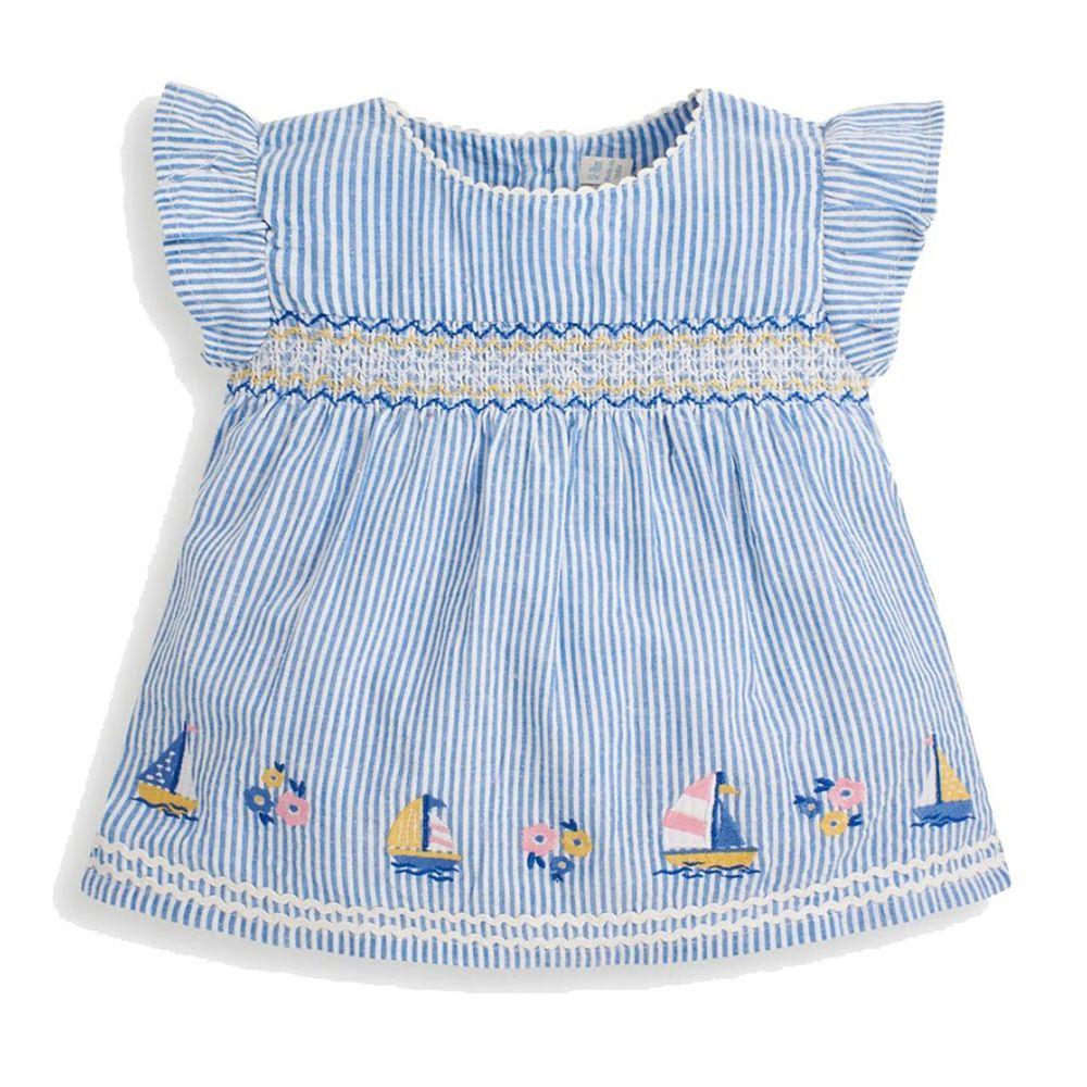 英國 JoJo Maman BeBe - 超優質嬰幼兒/兒童100% 純棉短袖上衣-藍色風海洋