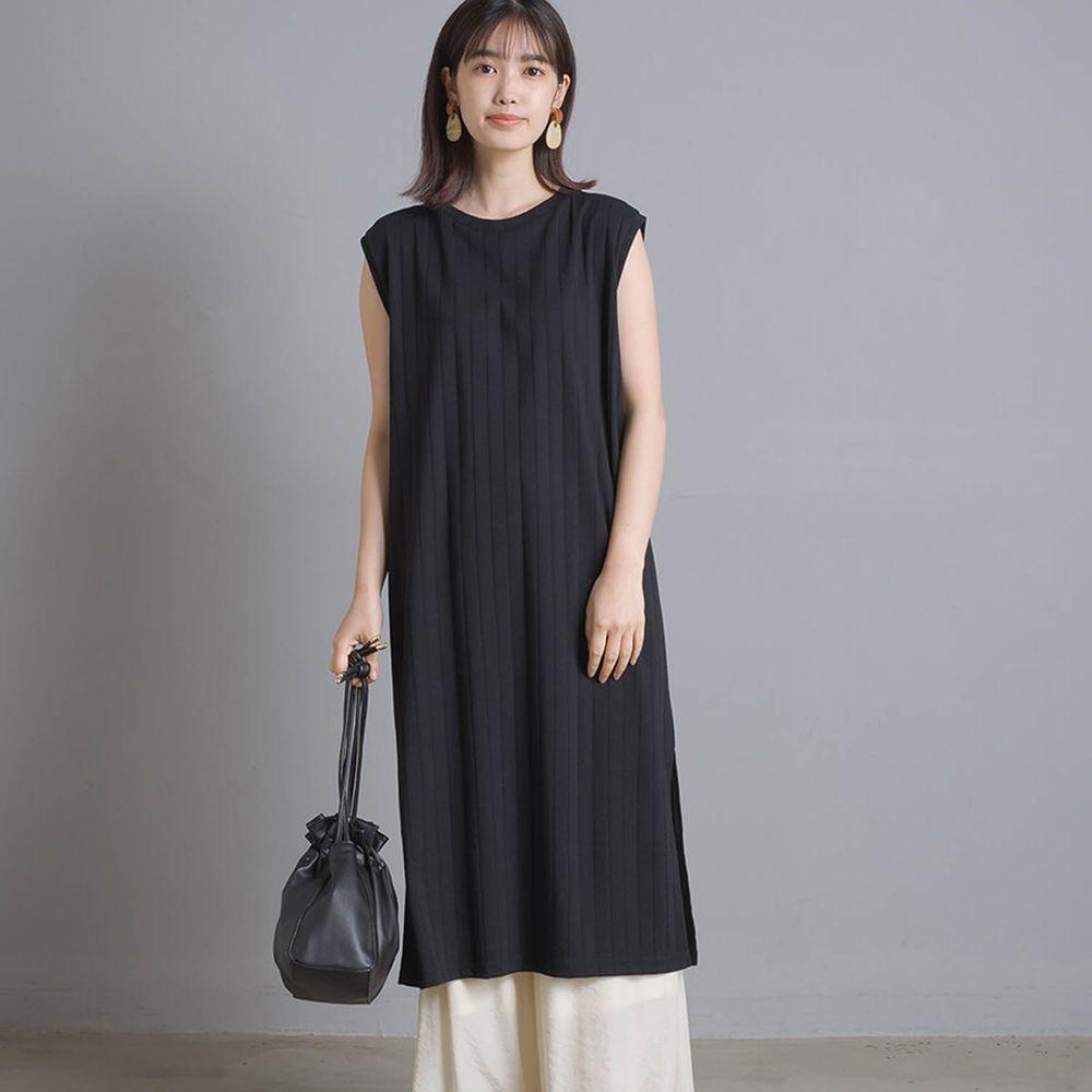 日本 OMNES - 防透汗加工 粗羅紋開衩無袖洋裝-黑