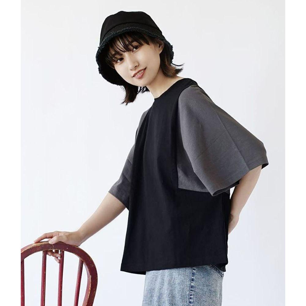 日本 zootie - 抗透汗 撞色顯瘦設計寬版五分袖上衣-黑X灰