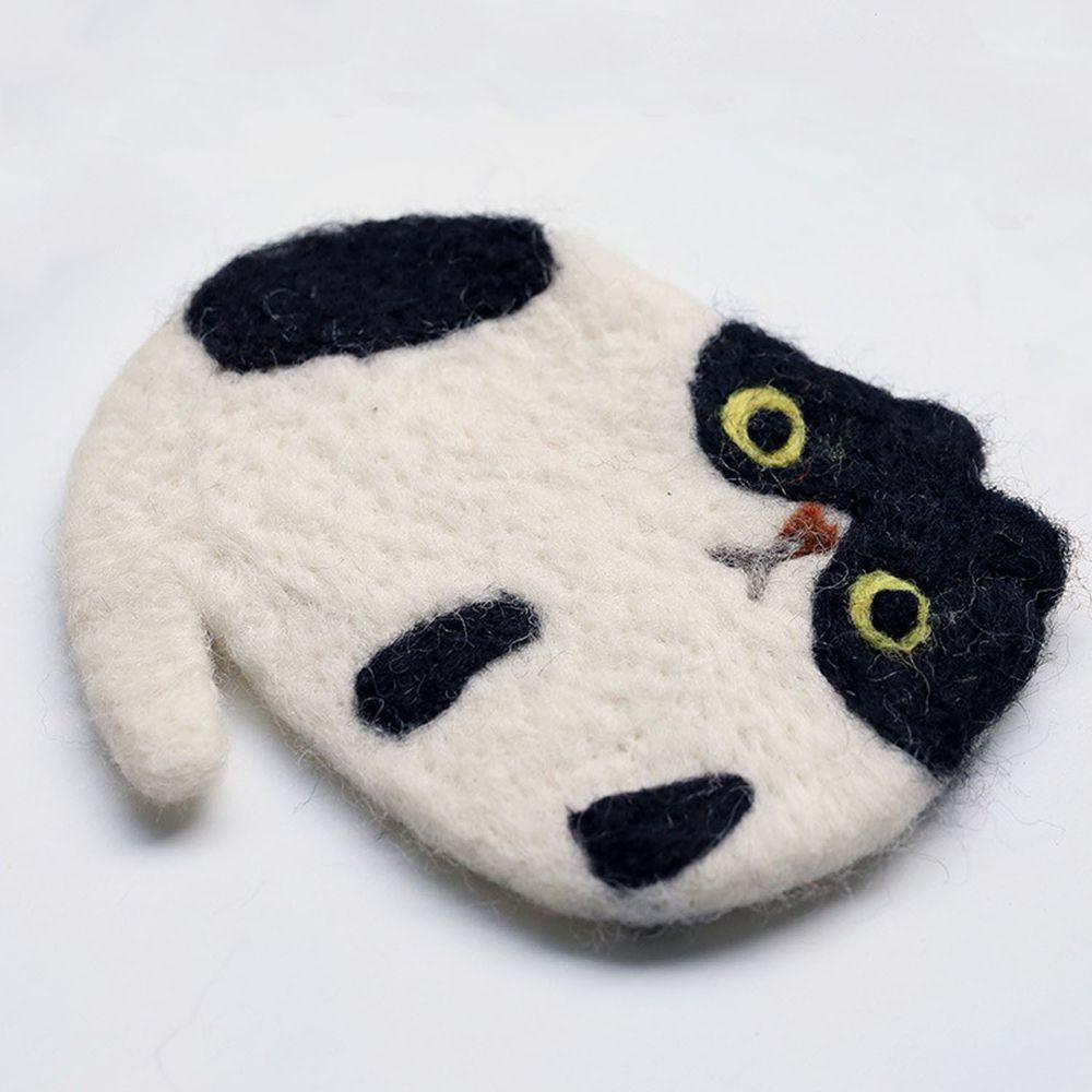 可愛動物造型羊毛氈杯墊-黑白貓
