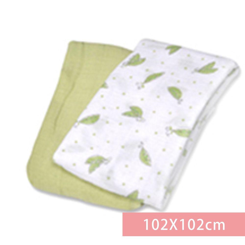 Summer Infant - 輕量細棉紗布寶寶毯2入組-甜蜜豌豆-適用年齡:新生兒起皆適用