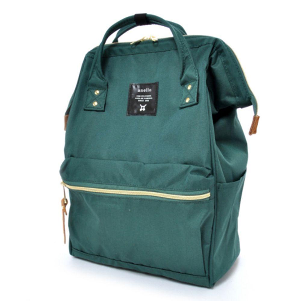 日本 Anello - 日本大開口牛津布後背包-Regular大尺寸-DGR深綠