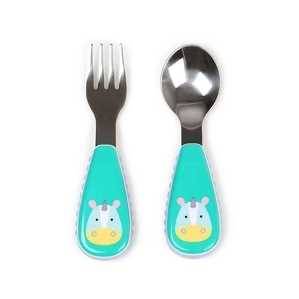 美國 SKIP*HOP - 餐具叉及匙-獨角獸