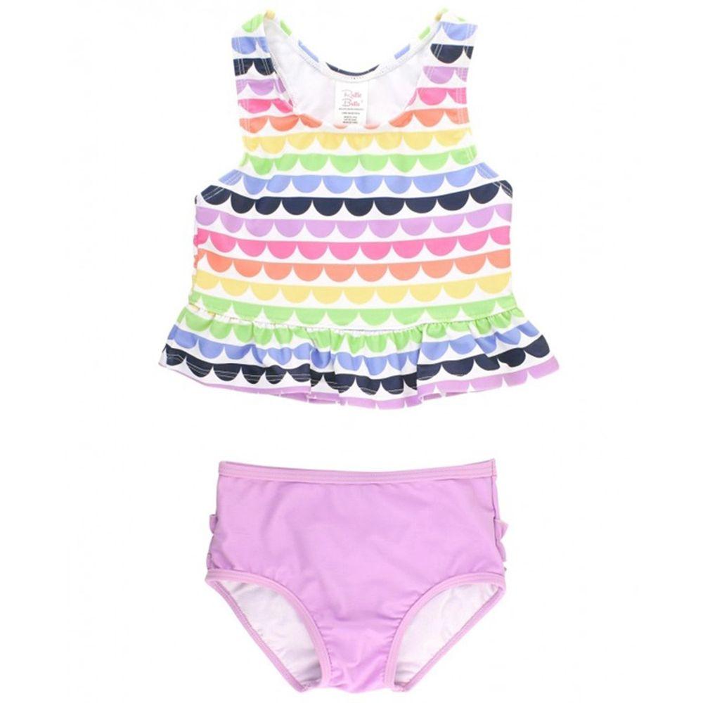 美國 RuffleButts - 小女童UPF 50+防曬兩件式無袖泳裝-七彩浪花