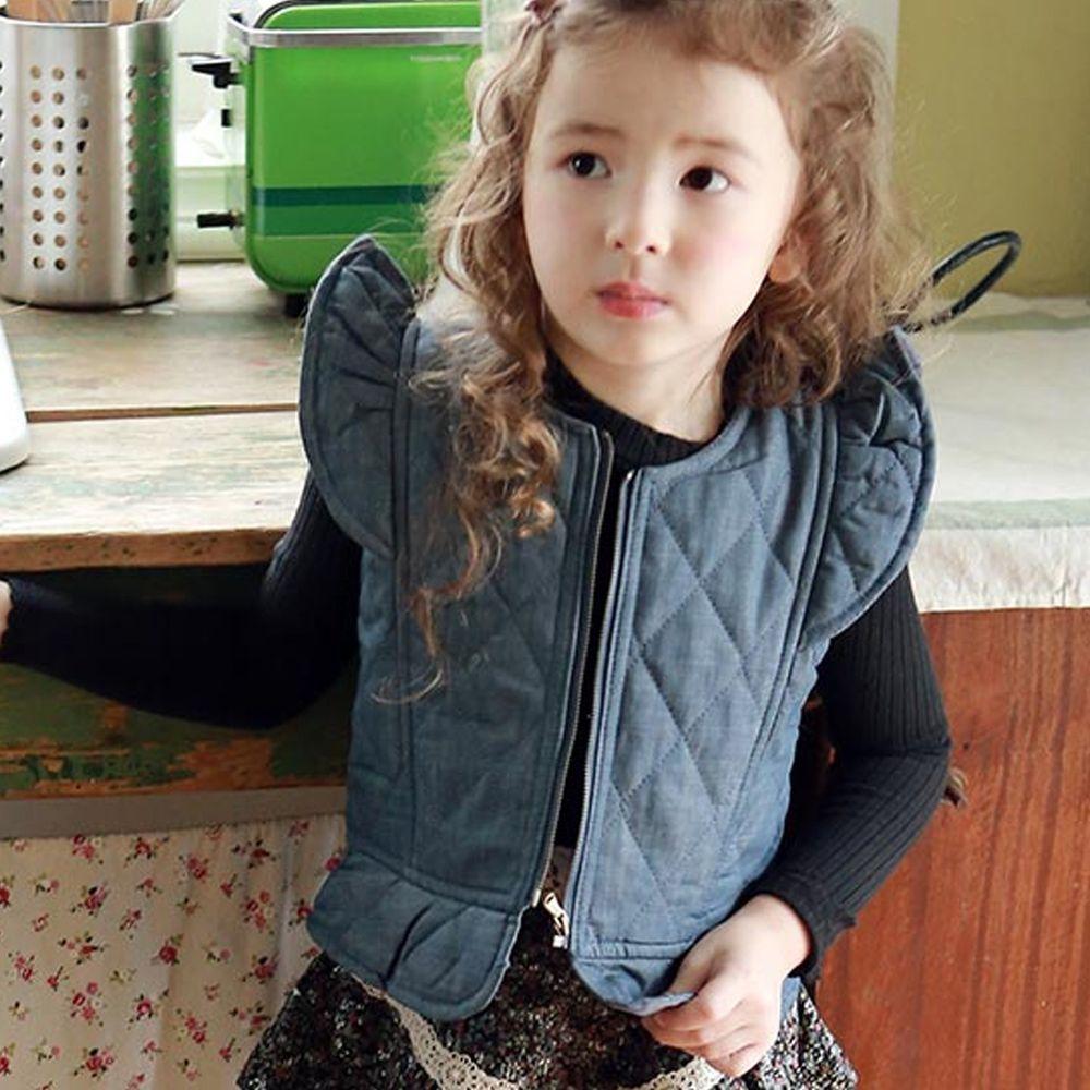 韓國 PuellaFLO - 立體袖鋪棉保暖背心-單寧藍