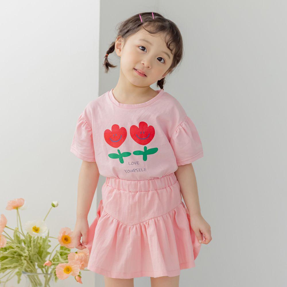 韓國 Orange Mom - 開心鬱金香套裝-粉紅上衣X粉紅褲裙