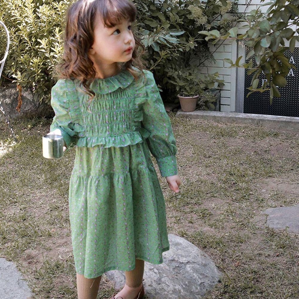 韓國 Puellaflo - 胸前荷葉裝飾碎花泡泡袖洋裝-綠