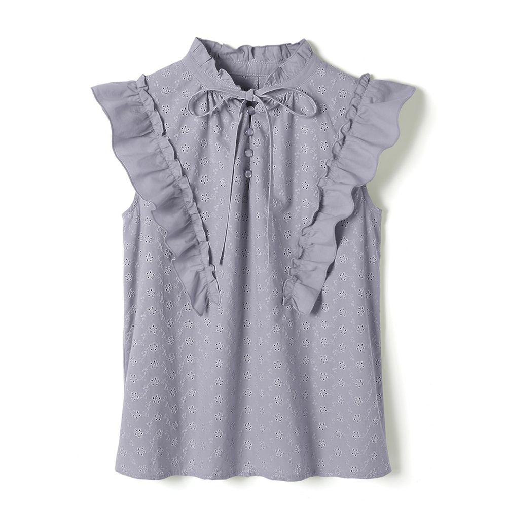 日本 GRL - 小雕花荷葉V領綁帶無袖上衣-灰藍 (Free)