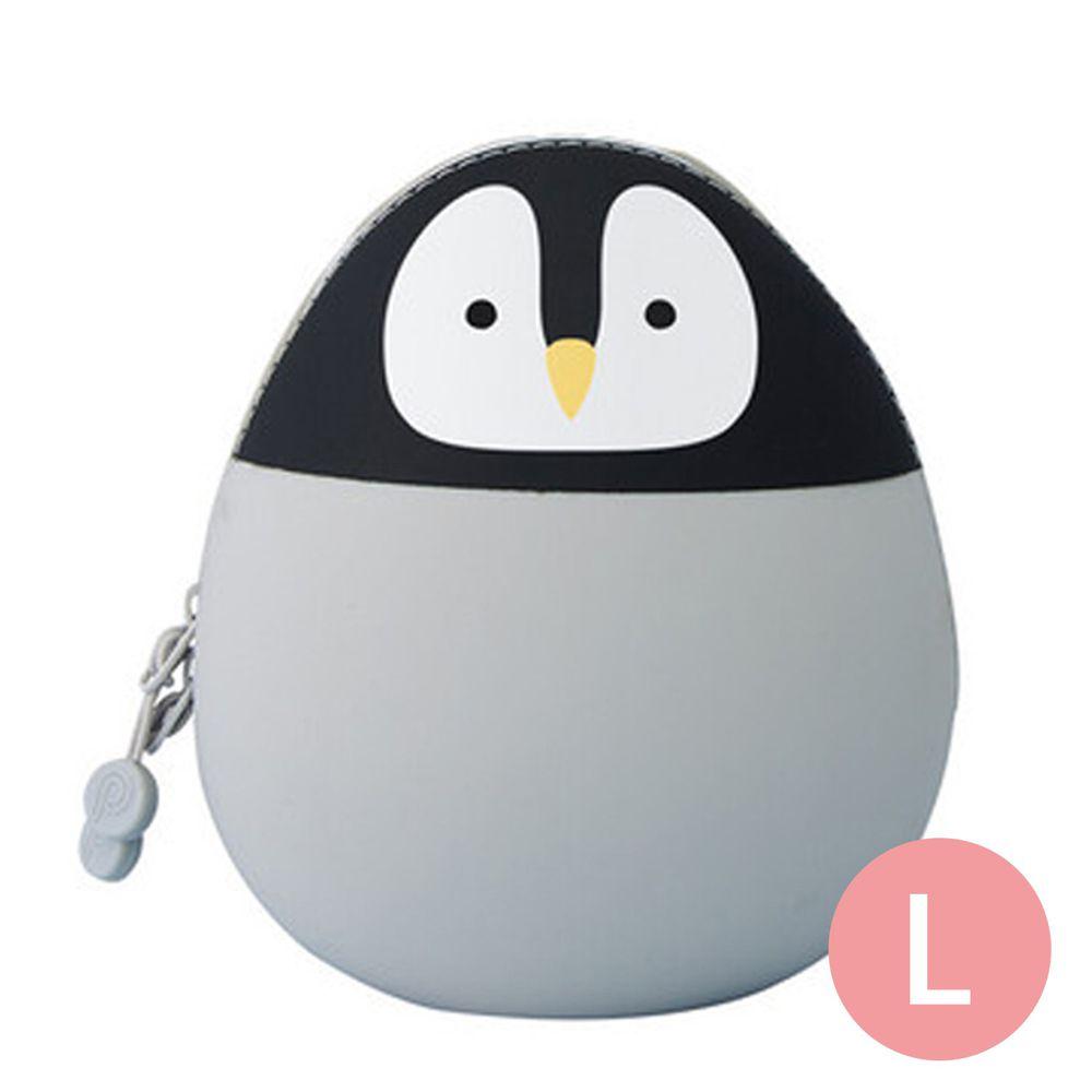 日本文具 LIHIT - 圓筒式胖胖收納包-企鵝 (L(14x12x9.6cm))
