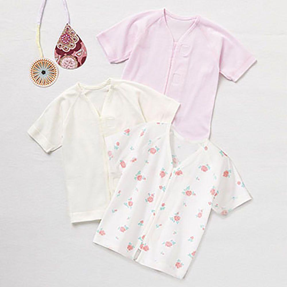 日本 Combi - mini系列-純棉肚衣3件組(黏貼式,7分袖)-白色*1 粉色*1 小花*1 (60-70)