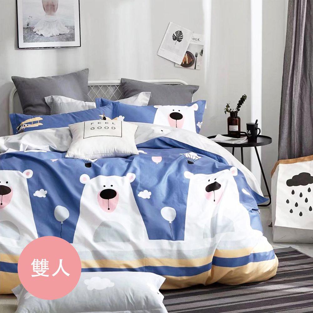 PureOne - 極致純棉寢具組-萌動青春-藍-雙人四件式床包被套組