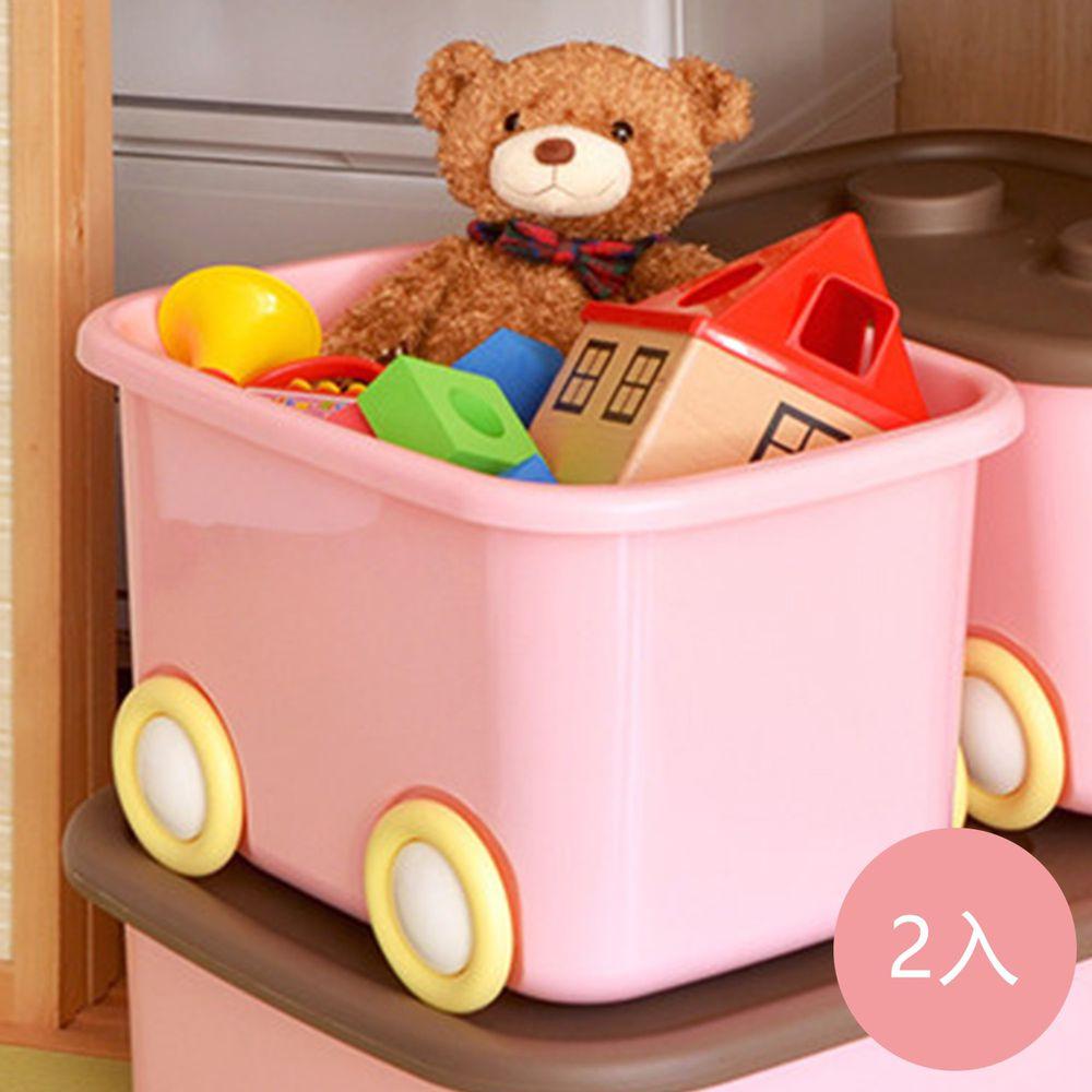 日本伸和 Shinwa - 日本製 玩具衣物可疊固定收納箱L(32L)-附輪-2入-粉紅