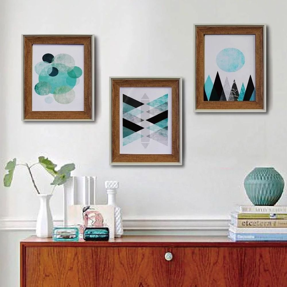 TROMSO - 格調北歐木紋雙色8x10相框三入套組-摩登藍調