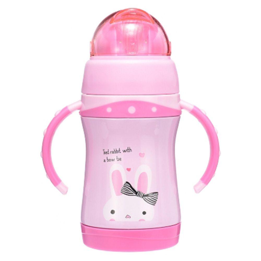 BABY TALK - 可愛動物不鏽鋼2用水杯-蹦蹦兔-粉紅色-260ml