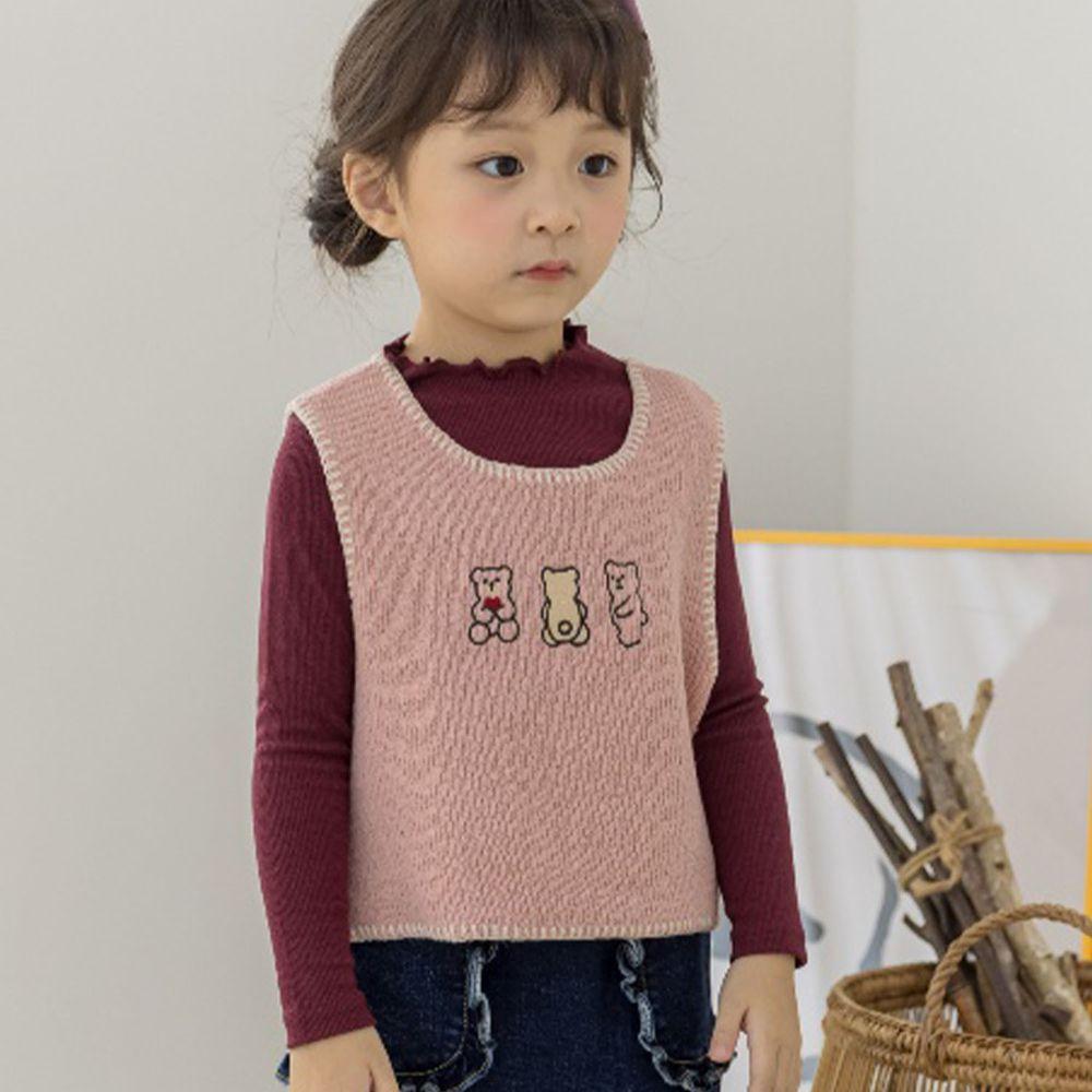 韓國 Orange Mom - 三隻小熊針織短背心-粉紅