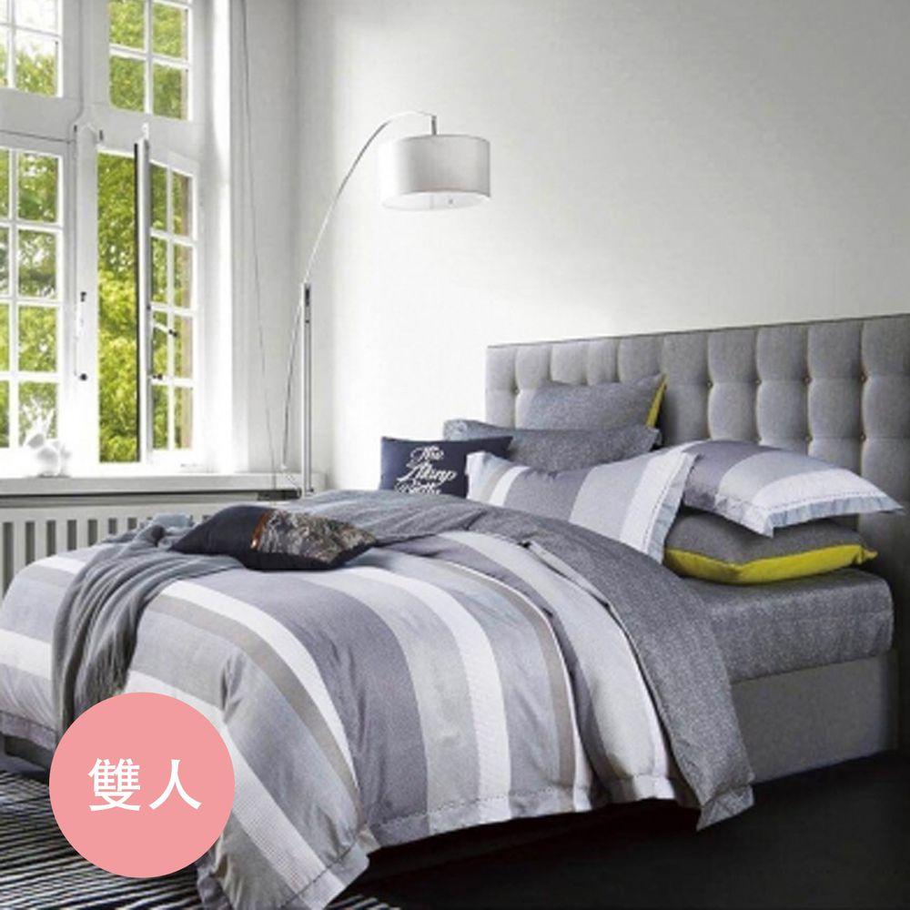 PureOne - 吸濕排汗天絲-都市密碼-雙人床包枕套組(含床包*1+枕套*2)