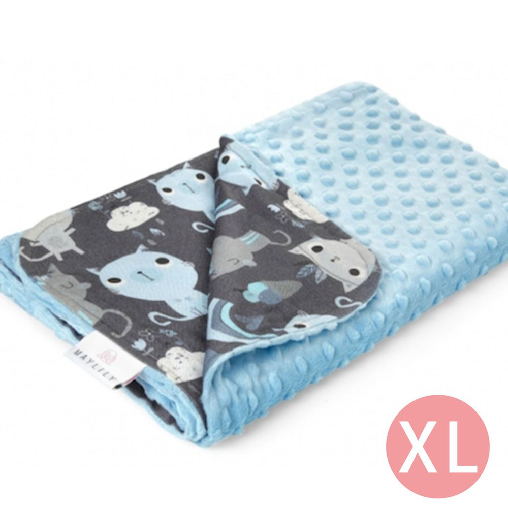 maylily - 竹纖維魔術顆粒輕柔毯(薄,無內胎)-印地安藍貓 (XL)-150x110cm