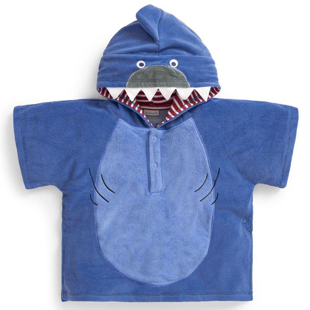 英國 JoJo Maman BeBe - 嬰幼兒/兒童游泳浴巾-藍鯊
