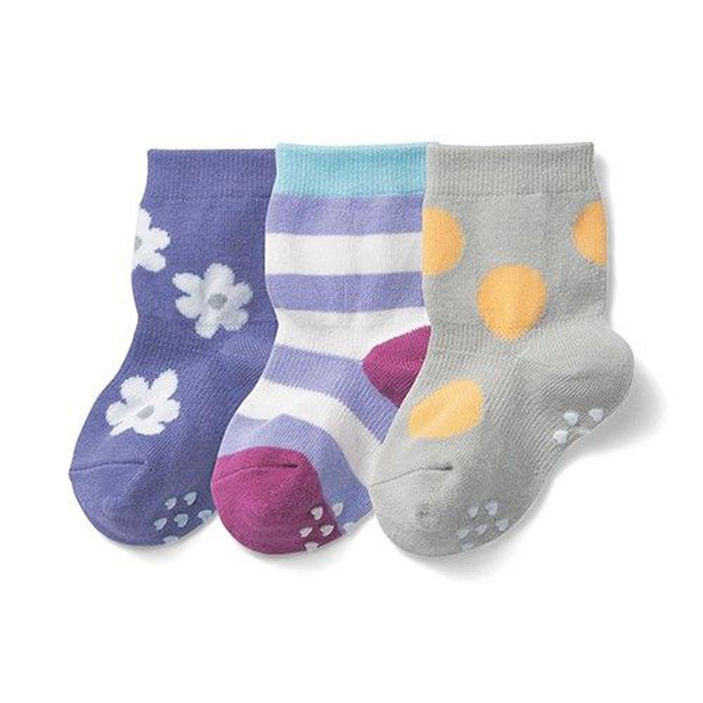 日本千趣會 - 止滑小童中統襪三件組-紫花x條紋x大圓點