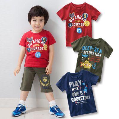 男孩個性圖案印花短袖T恤三件組-徽章+潛水+火箭-卡其色+深藍色+紅色