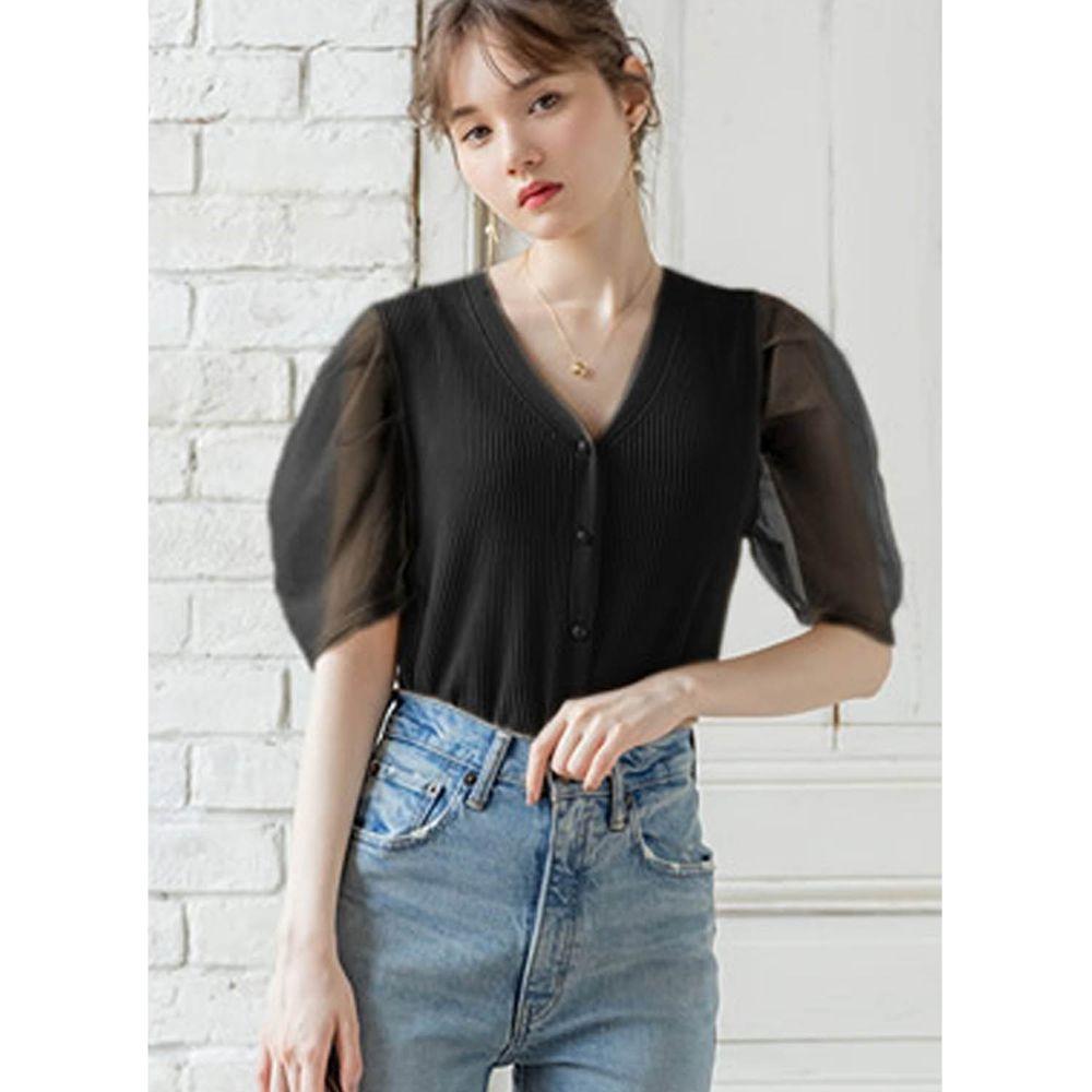 日本 GRL - V領排釦針織薄紗澎袖拼接五分袖上衣-時尚黑