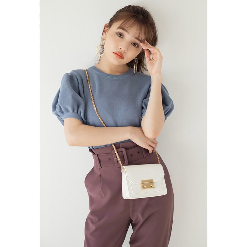 日本 GRL - 顯瘦澎澎袖針織圓領上衣-天空藍 (M)