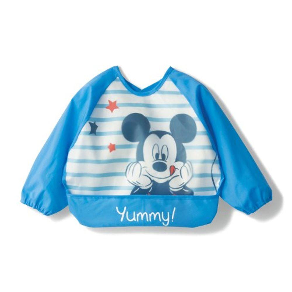 日本千趣會 - 迪士尼長袖防水食事圍兜-米奇星星-藍