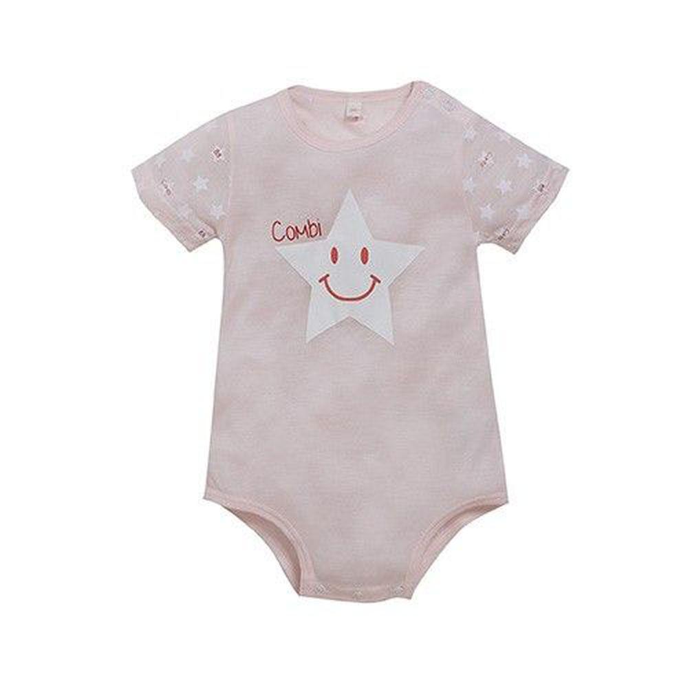 日本 Combi - 短袖側開連身衣(天絲棉)-小星星-粉色
