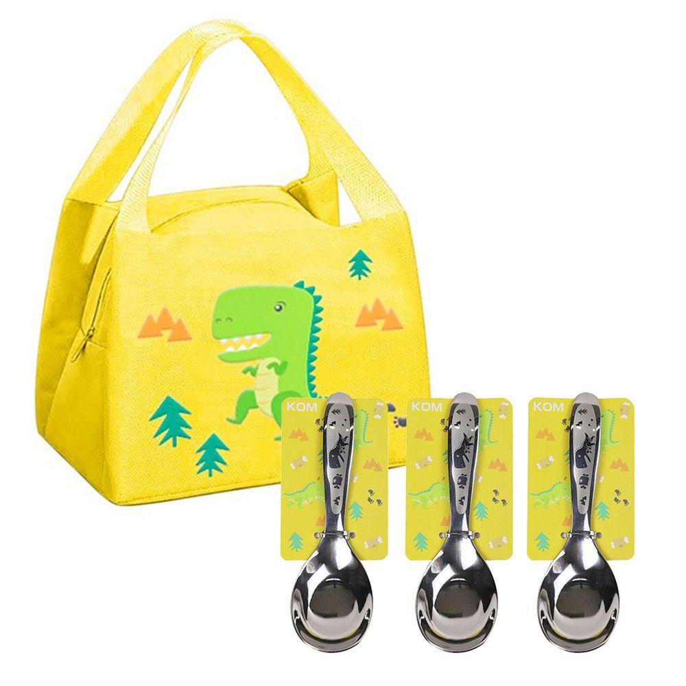 KOM - 童趣便當袋-3入組+316不鏽鋼兒童平底匙-3入組-恐龍