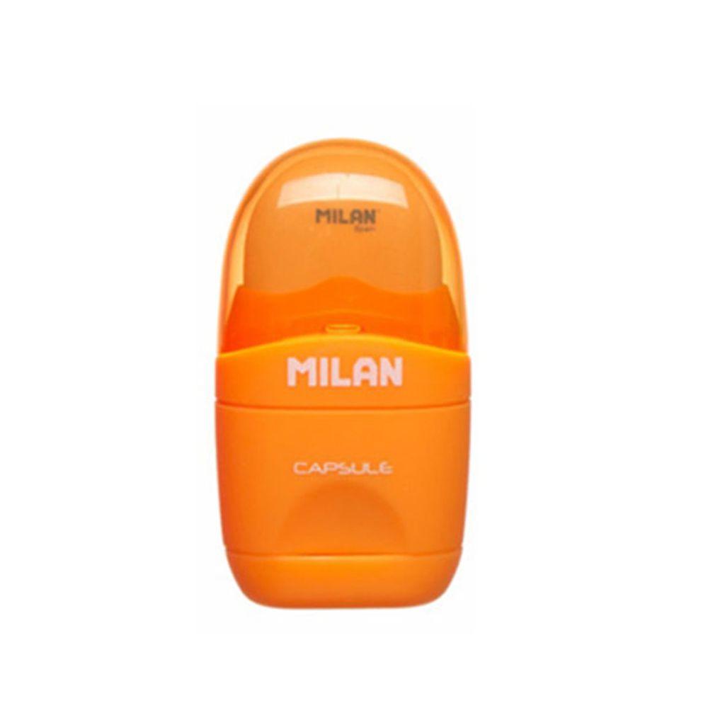 MILAN - 太空膠囊橡皮擦+削筆器_螢光系列_活力橘