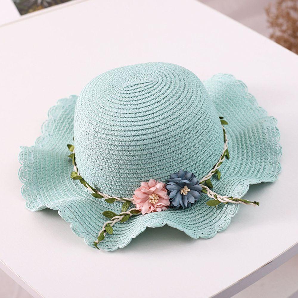 花藤波浪遮陽帽-薄荷藍 (小孩款(52-54cm))