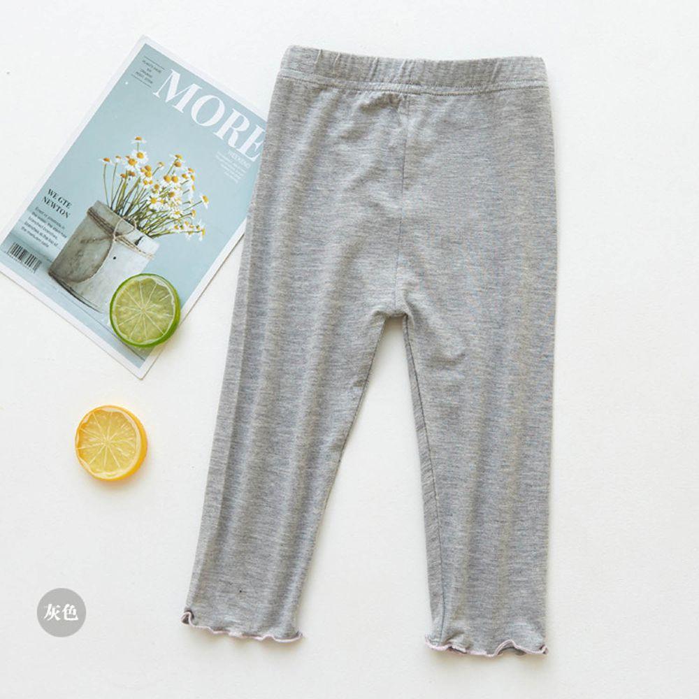 FANMOU - 七分內搭褲(莫代爾)-繽紛滾邊-灰色