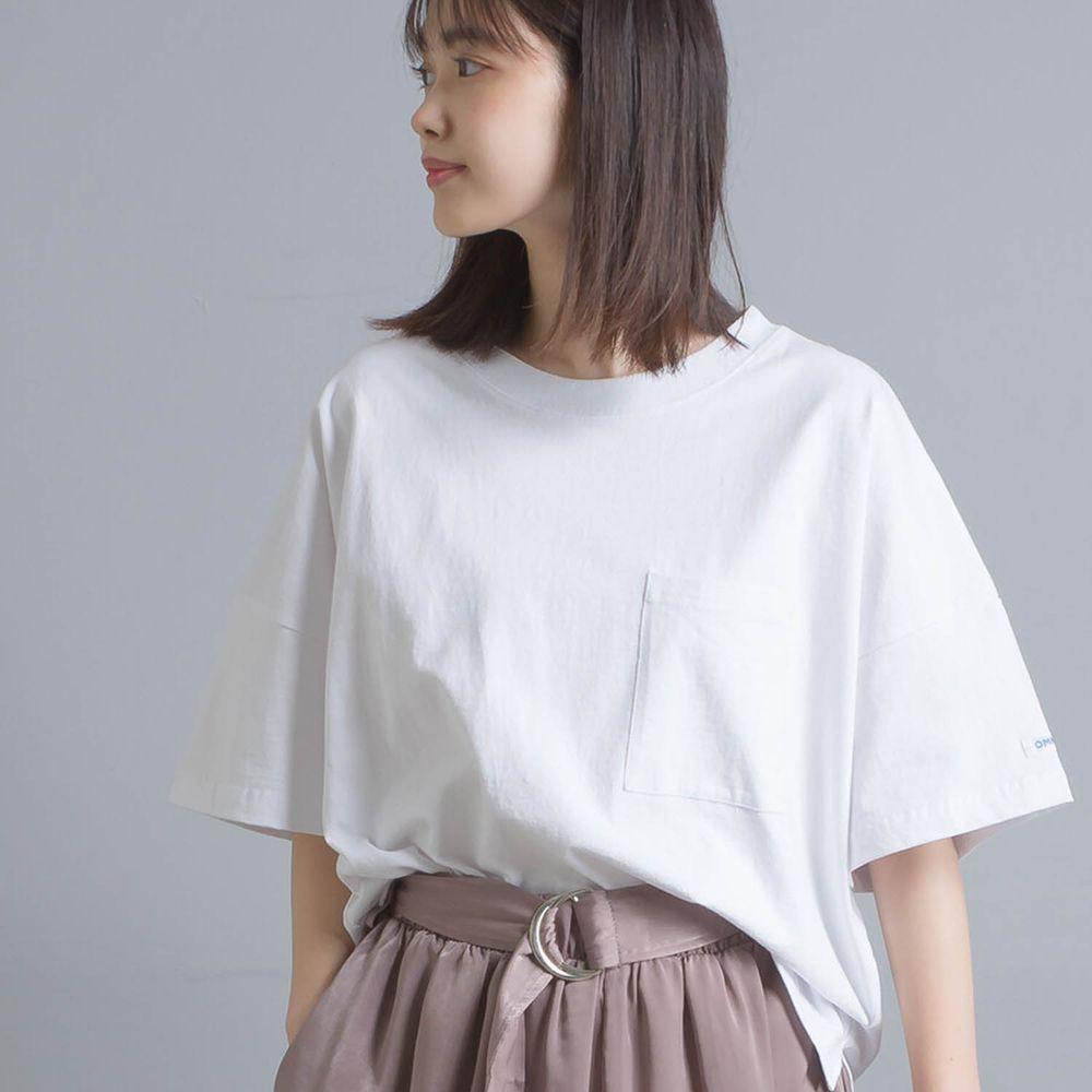 日本女裝代購 - 挺版簡約英文字落肩五分袖T-白