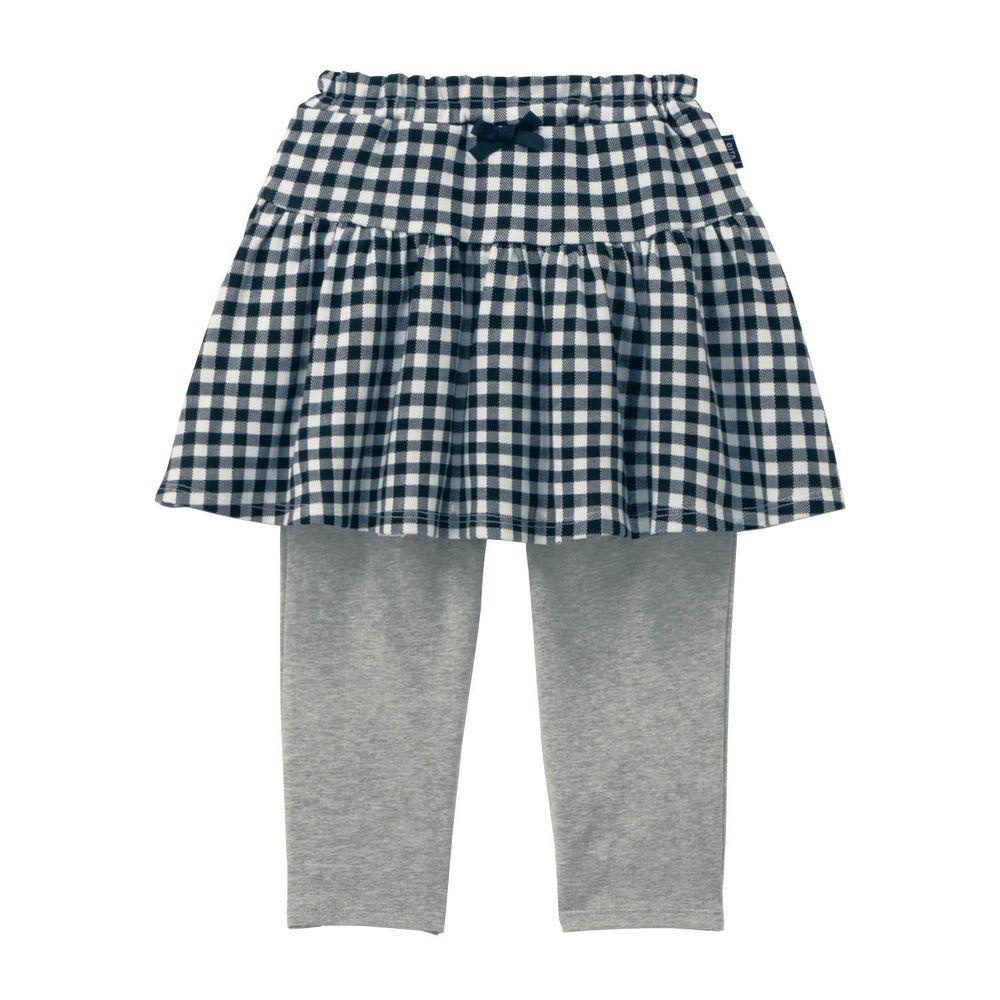 日本千趣會 - GITA 防曬接觸冷感七分內搭褲裙-格紋-黑白灰