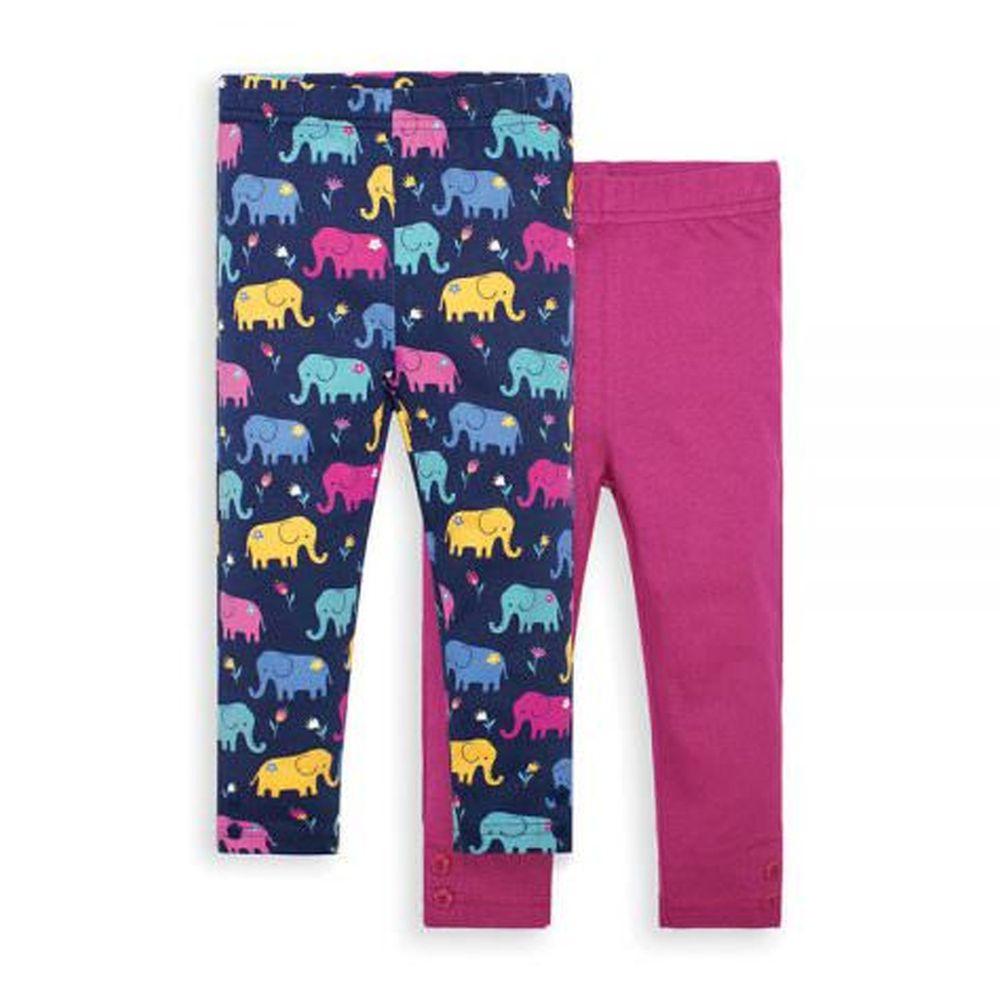 英國 JoJo Maman BeBe - 保暖內搭褲兩入組-大象世界