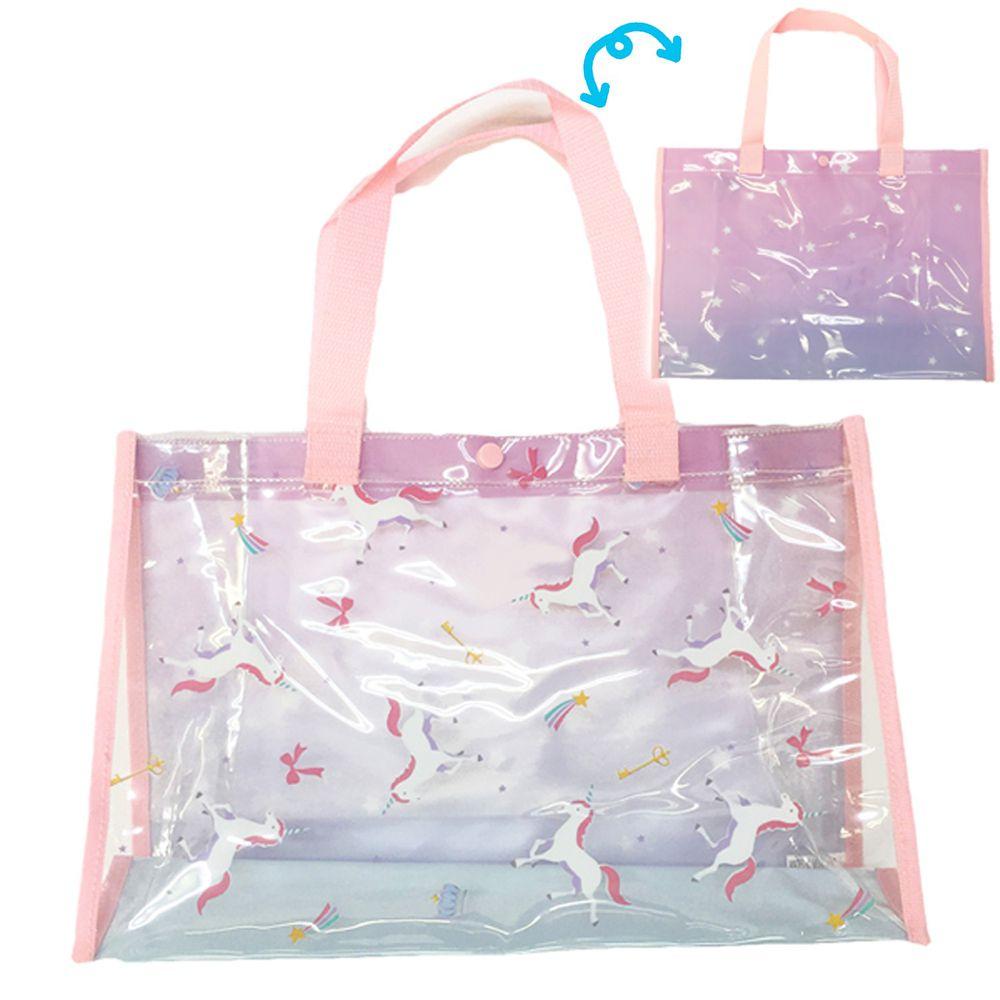 日本服飾代購 - 防水PVC游泳包(雙面圖案設計)-獨角獸-粉 (25x36x13cm)