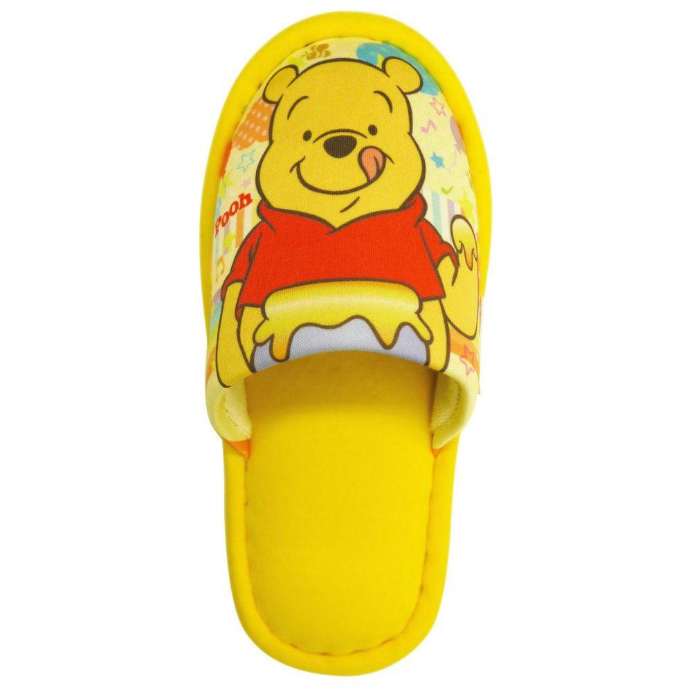 日本千趣會 - 兒童室內拖鞋-維尼-黃 (18cm)
