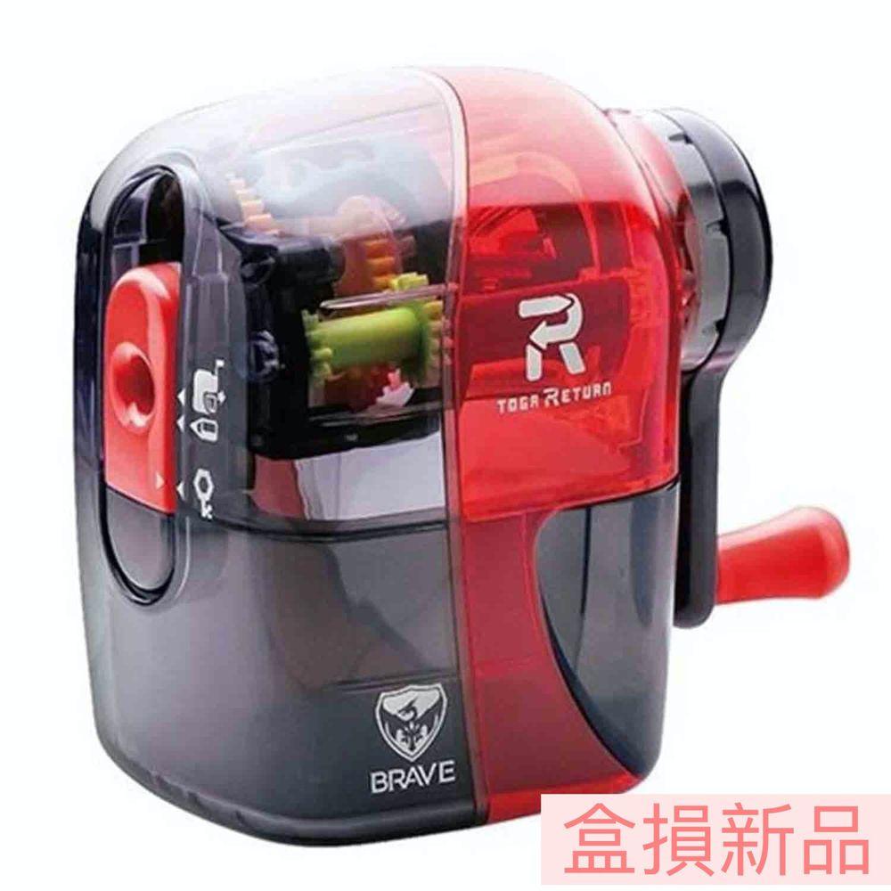 日本文具 SONIC - (盒損新品)自動彈出手動削鉛筆機-限定款-透明紅黑