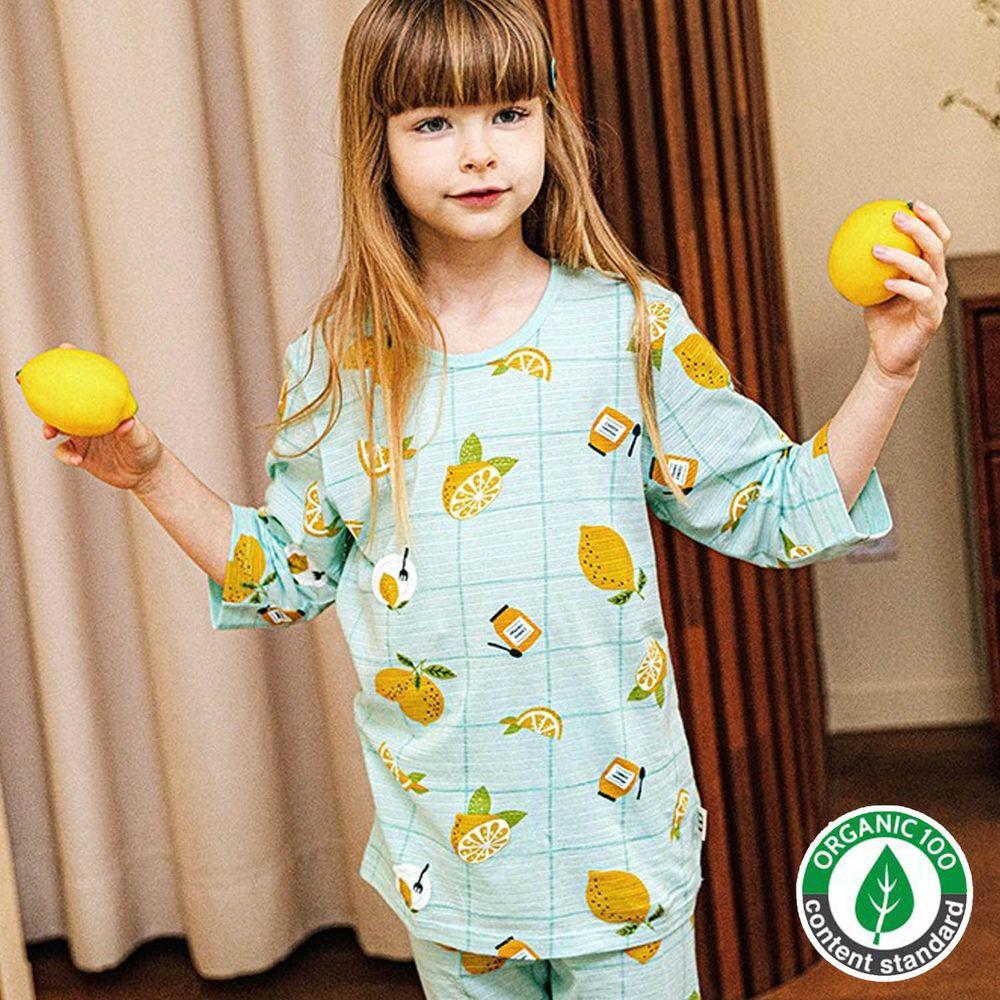 韓國 Mavarm Organic - 有機棉透氣七分袖家居服-格子檸檬