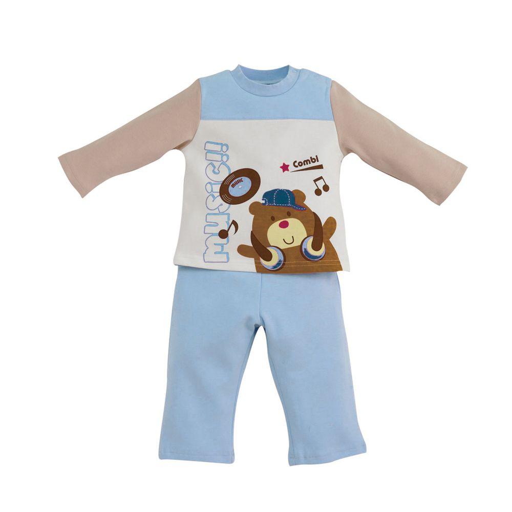 日本 Combi - 側開套裝(純棉)-音樂頑童-藍色