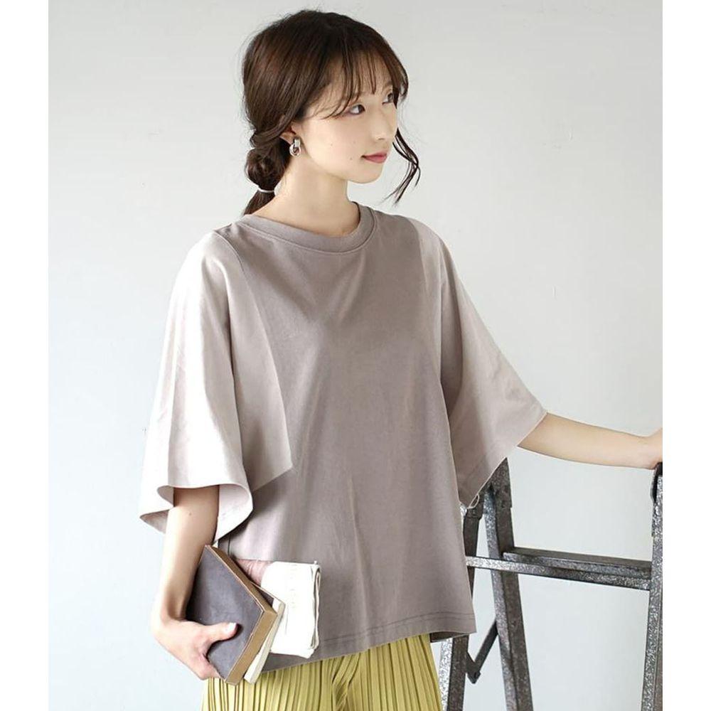 日本 zootie - 抗透汗 撞色顯瘦設計寬版五分袖上衣-淺灰