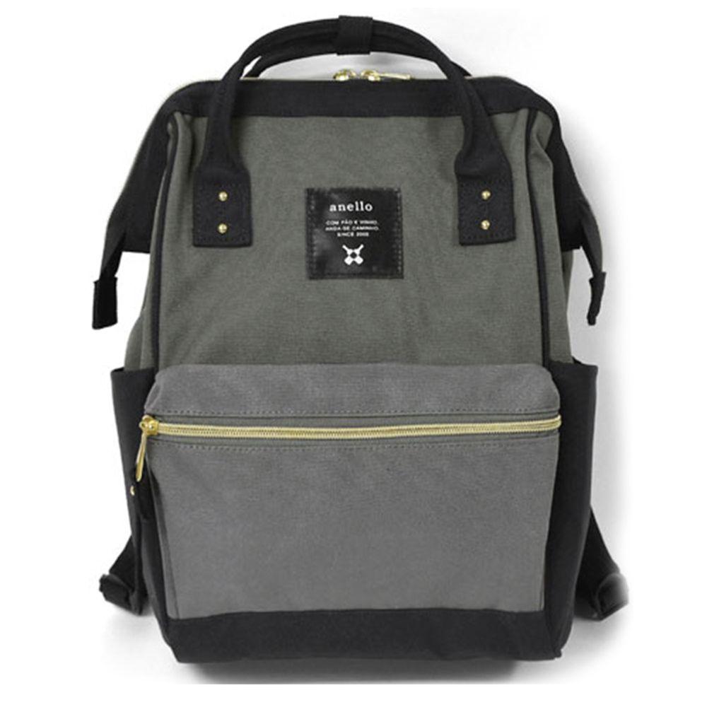 日本 Anello - 大開口牛津布後背包-mini小尺寸-BML黑灰拼接