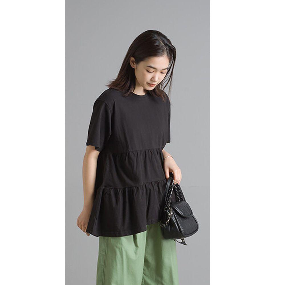 日本女裝代購 - 蛋糕純棉短袖上衣-黑 (Free size)