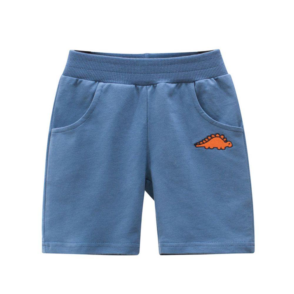 口袋恐龍五分褲-水藍