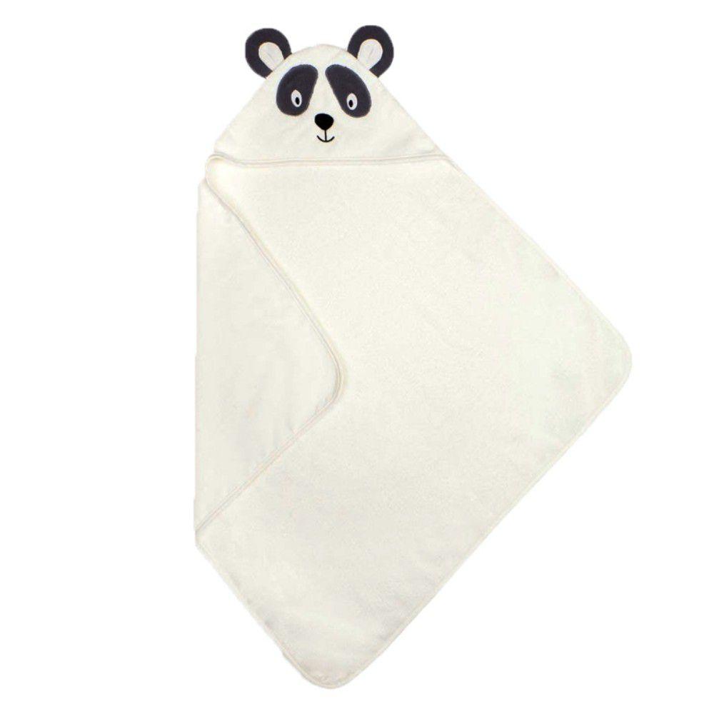 英國 JoJo Maman BeBe - 100%純棉動物造型連帽浴巾/包巾-米白浣熊