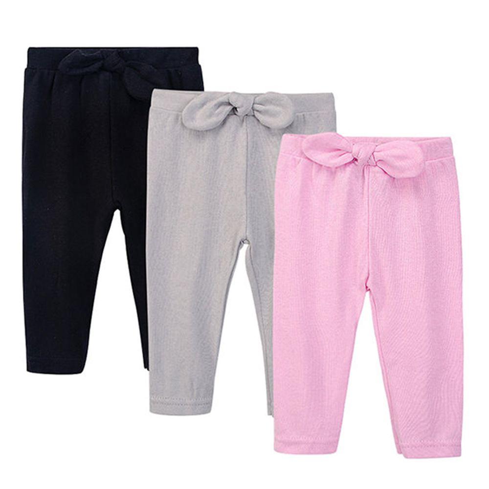 美國 Luvable Friends - 100%純棉嬰幼兒長褲3件組-寬版蝴蝶結